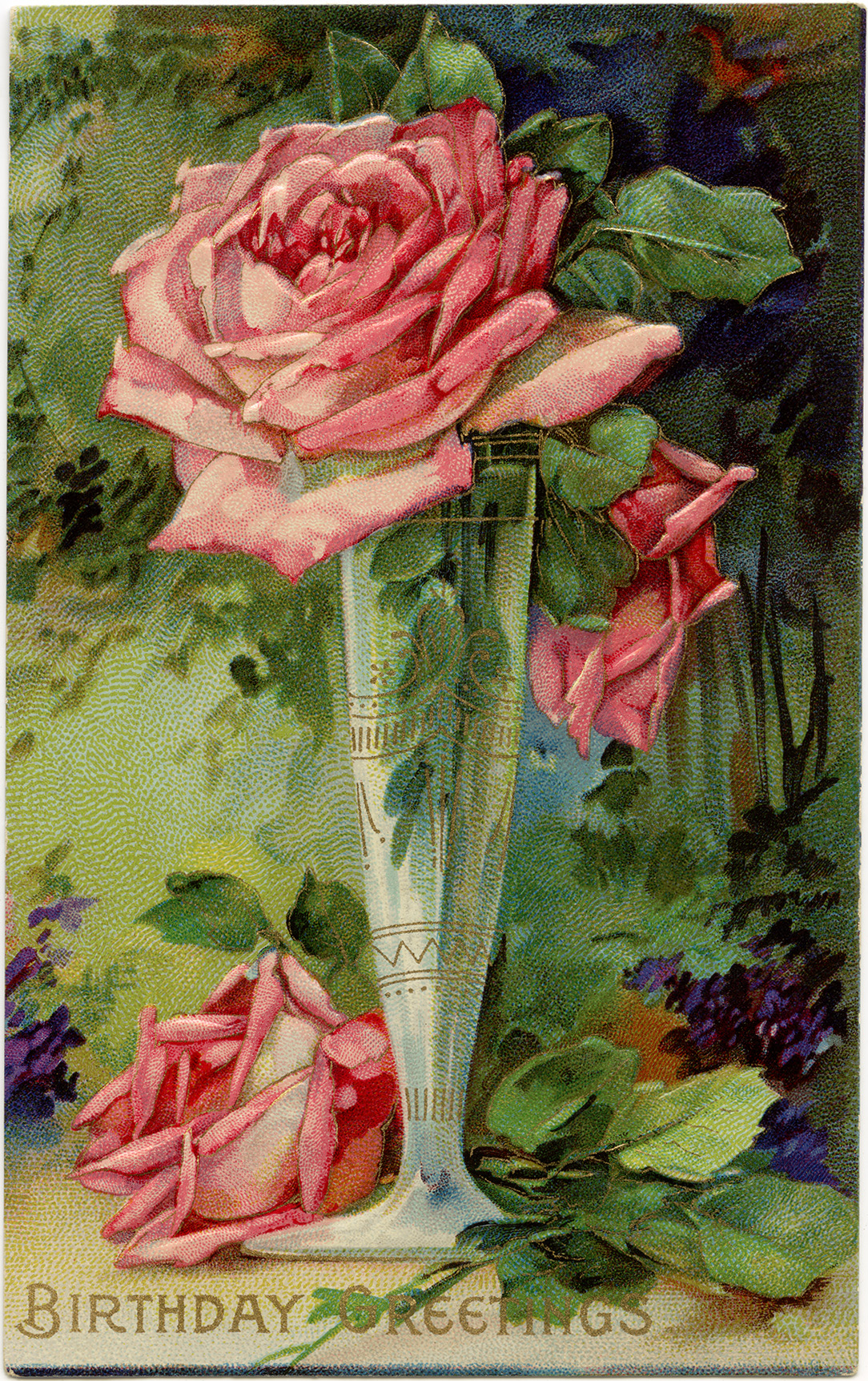 Pink Rose Greeting 1 Free Vintage Illustrations