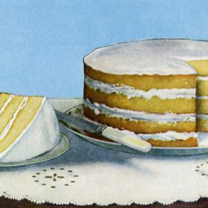 This delicious and free vintage illustrations features a yummy vanilla layer cake.