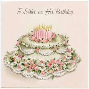 An exquisite vintage birthday cake illustration.