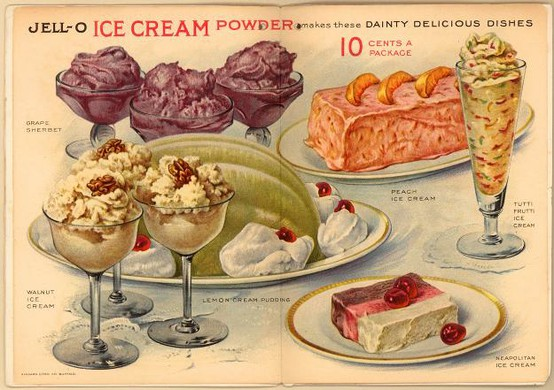 This vintage jell-o dessert ad is filled with color and classic recipes.