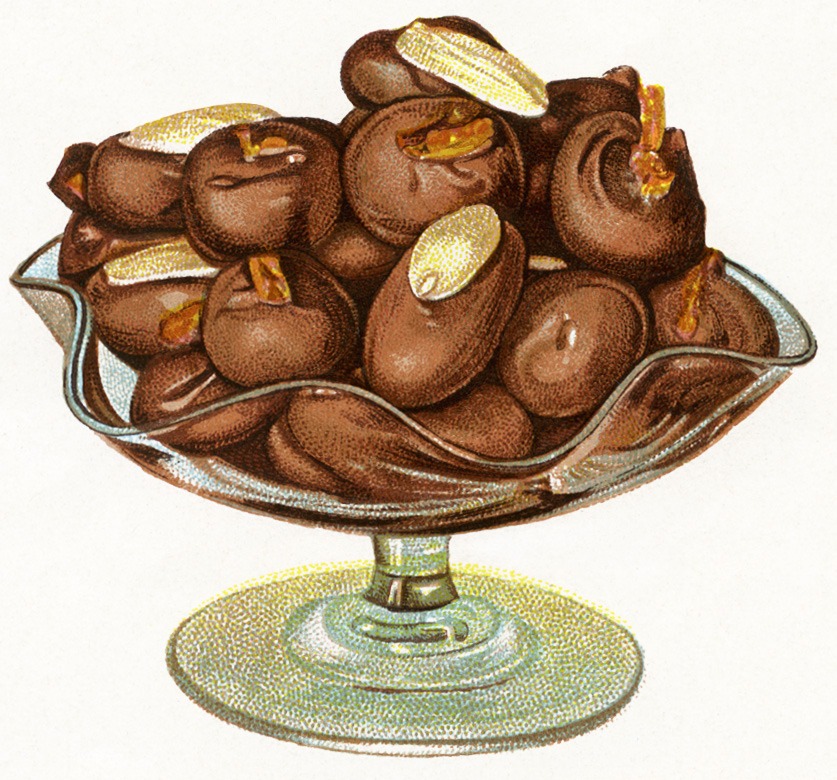 A classic bowl of chocolate covered nuts.  Perfect for the holidays!