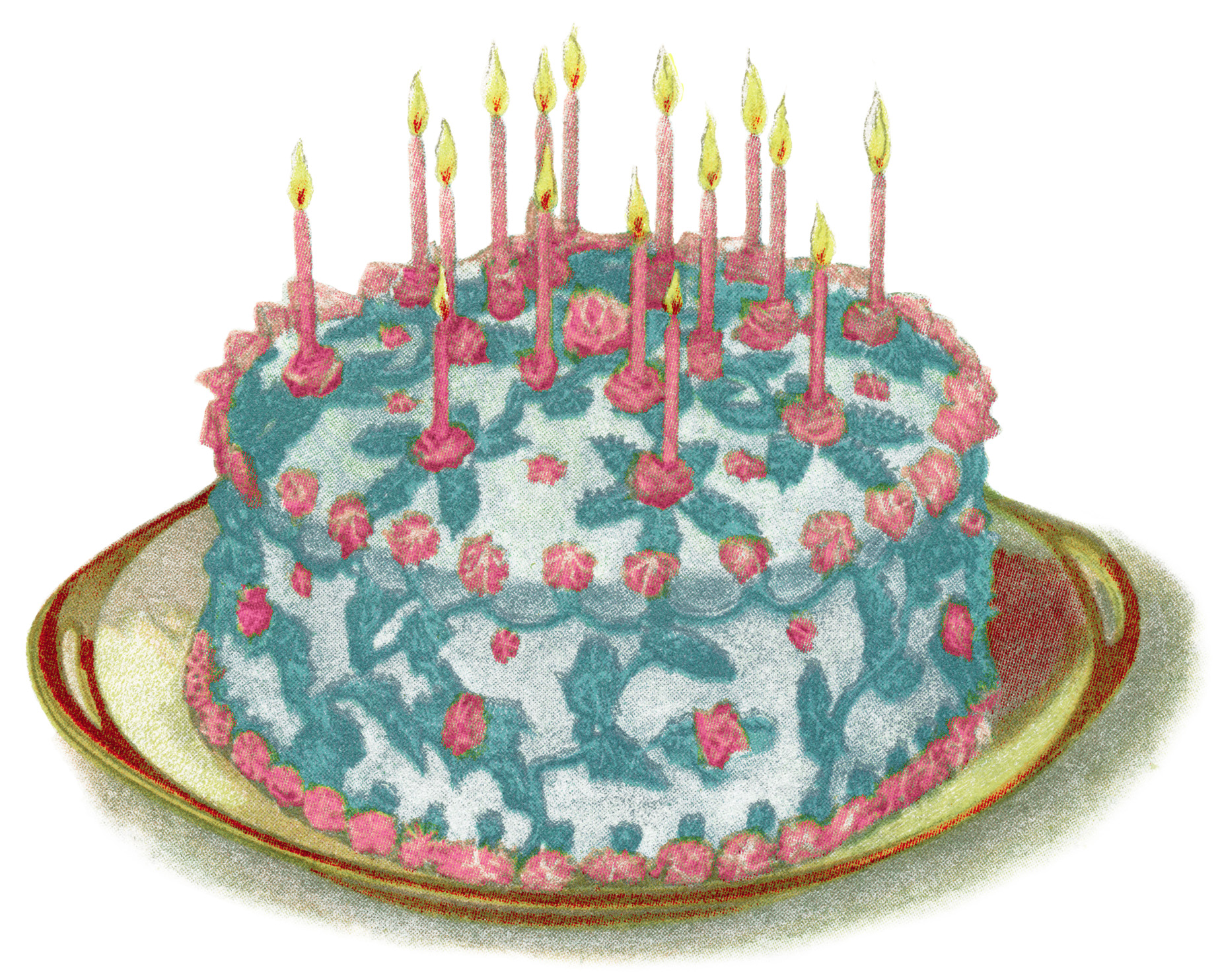 Free Vintage Birthday Cake Illustration Free Vintage Illustrations