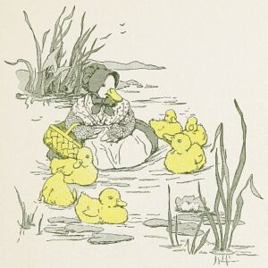 Free public domain vintage childrens illustration of a mother duck and her ducklings in a pond