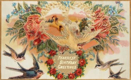 Public Domain Vintage Birthday Card Birds And Flowers