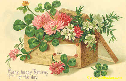 Vintage Flowers Birthday Cards ~ Public domain vintage birthday card victorian box of flowers and