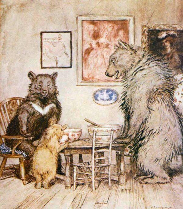 public domain vintage childrens book illustration arthur rackham three bears