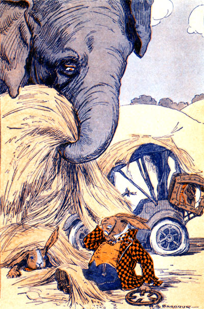 david corey, elephant illustration, elephant childrens book, elephant, david cory book, public domain, public domain book, public domain childrens book, vintage, vintage illustration, vintage color illustration, vintage childrens book illustration, vintage art, free vintage image, childrens book, childrens book illustration, antique childrens book, the little jack rabbit, book illustration, illustration, old book illustration, retro, antique, retro childrens book, classic childrens story
