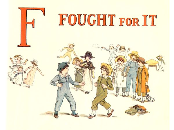 Free public domain vintage children's book illustration from Apple Pie by Kate Greenaway. Letter f. Antique Alphabet book.
