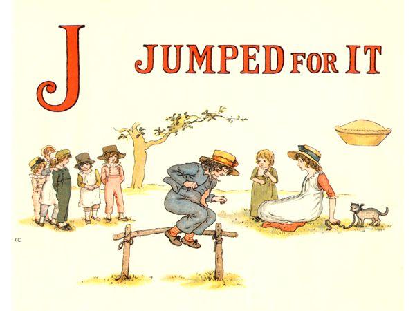 Free public domain vintage children's book illustration from Apple Pie by Kate Greenaway. Letter j. Antique Alphabet book.