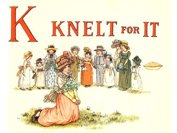 Free public domain vintage children's book illustration from Apple Pie by Kate Greenaway. Letter k. Antique Alphabet book.