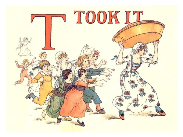 Free public domain vintage children's book illustration from Apple Pie by Kate Greenaway. Letter t. Antique Alphabet book.