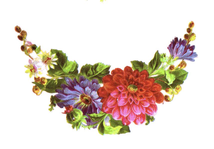 Public domain vintage clipart floral arrangement crescent