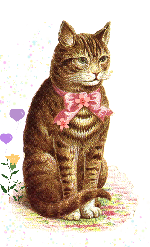 vintage clipart classic tabby cat with pink bow