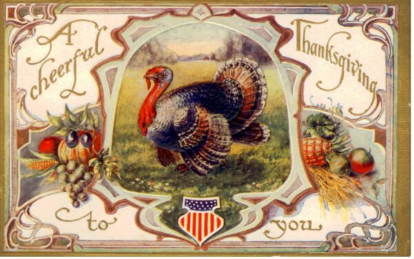 A free vintage thanksgiving postcard with turkey public domain image