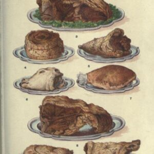 public domain vintage color illustrations of food and and meat roasts 02