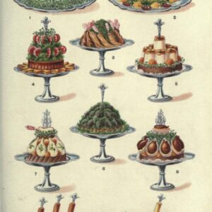 public domain vintage color illustrations of food and fancy meat dishes