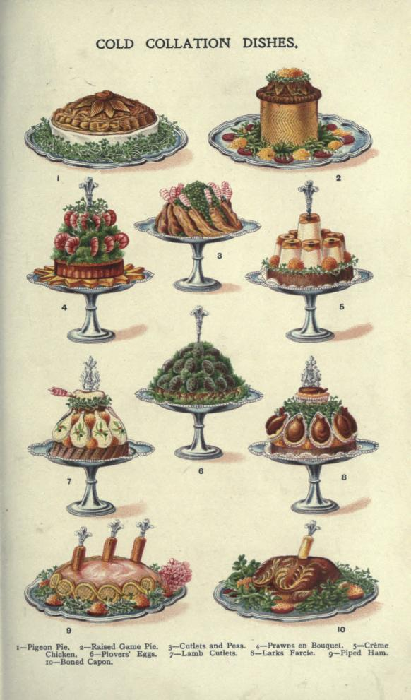 A free public domain vintage illustration of fancy food and meat dishes