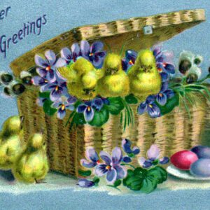 free vintage easter illustration of easter basket eggs and chicks postcard