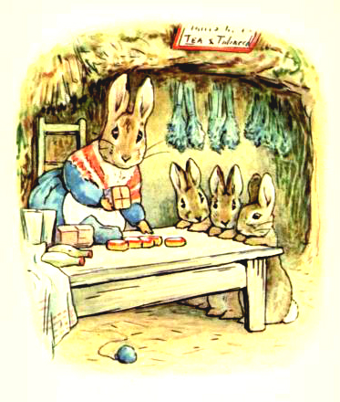 This is a free vintage Easter illustration of Benjamin Bunny from the 1904 Beatrix Potter classic.