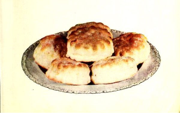 vintage illustration of biscuits from antique flour company cookbook