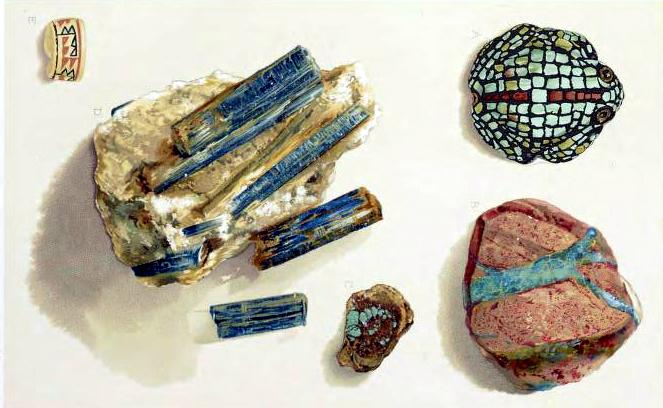 Antique rocks and minerals illustrations
