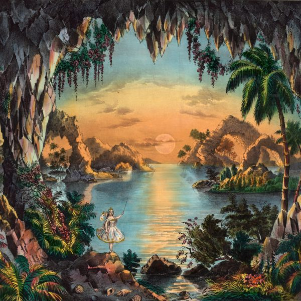 vintage illustration of a fairy grotto
