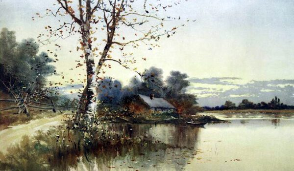 Autumn house on a lake fall illustration public domain