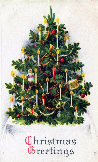 public domain vintage christmas cards with xmas trees