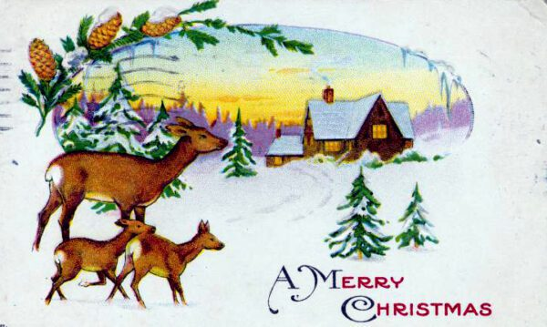 free vintage christmas cards with deer and snow