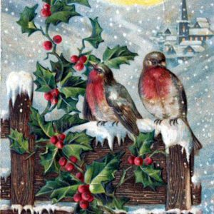 free vintage christmas cards with robins and holly