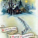public domain vintage christmas cards with snow-topped cabin
