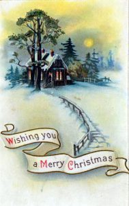free vintage christmas cards with snowy cabin