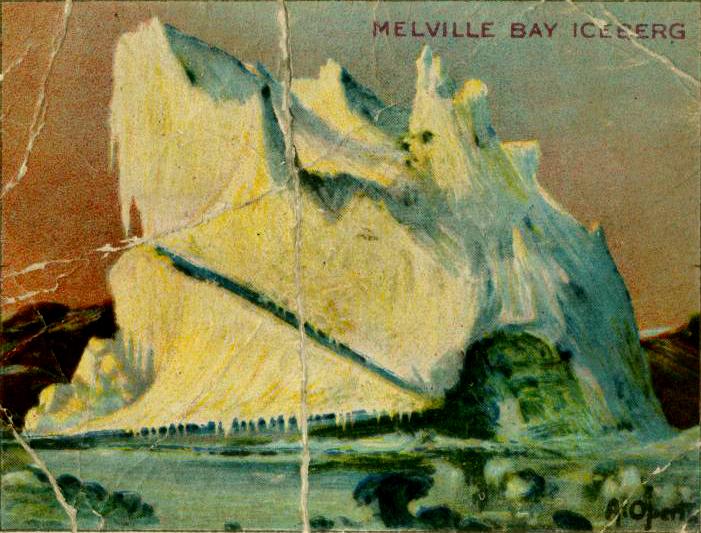 19th century iceberg illustrations of Melville Bay Iceberg from cigarette card