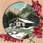Free vintage winter illustration of a snowy cabin from a 19th-century trading card.