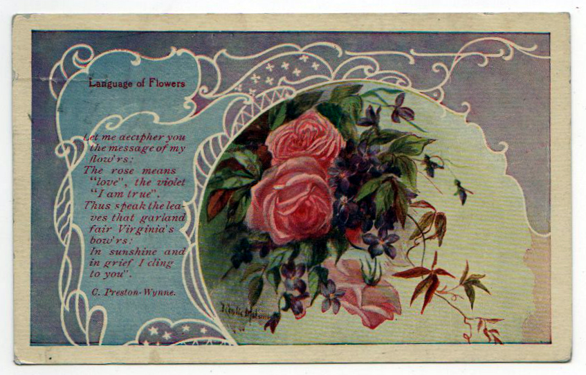 Free Valentine's Day pictures - postcard illustration of roses with poem