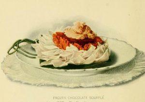 Early 20th century chocolate souffle dessert illustrations