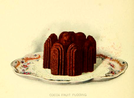 fancy chocolate pudding dessert illustrations early 20th century public domain