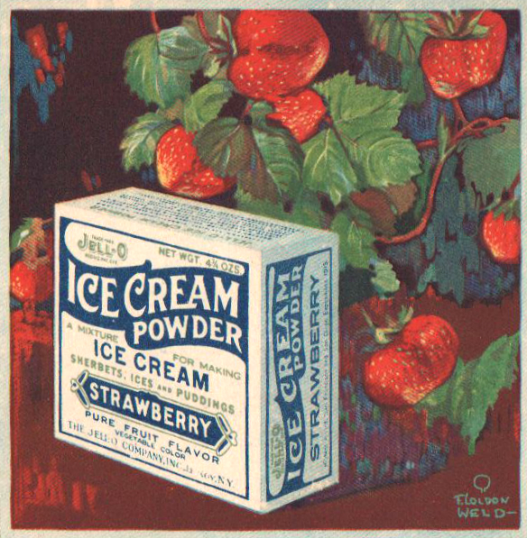 Vintage jello cookbook illustration of ice cream powder