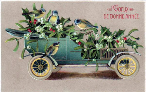 christmas illustration french car