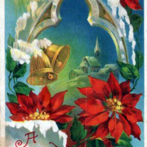 Free Christmas illustration of poinsettia plants, dated approximately to the late 19th century to early 20th century.