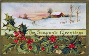 A free Christmas illustration of a traditional season's greeting card, originally published in 1908.