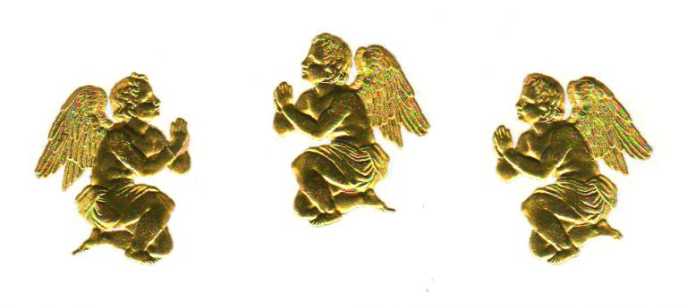 Free vintage Christmas illustration of gold angels dating to the late 19th-century to early 20th-century.