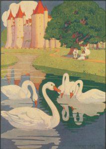 antique swan print