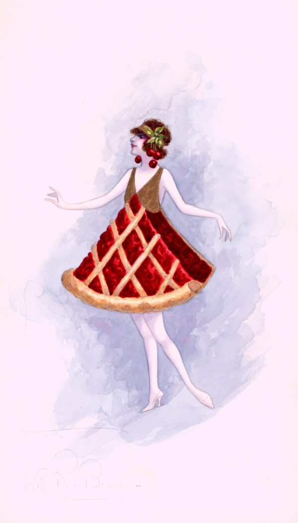 Public domain illustration of a woman in a cherry pie costume.