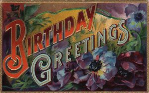 colorful vintage birthday card public domain