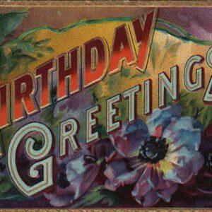 colorful vintage birthday card public domain