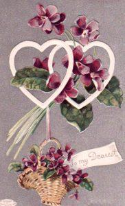 purple flower heart valentine