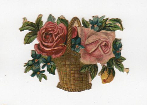 Vintage rose vase die cut