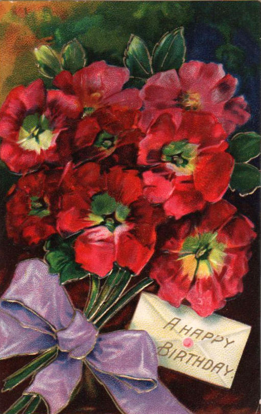 vintage birthday card bouquet envelope public domain