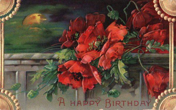 vintage birthday card gold roses public domain